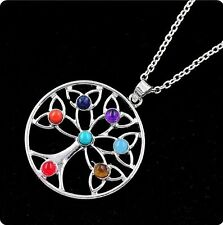 Silver Plated 7Stone Bead Lucky tree Shape Healing Point Chakra Pendant necklace