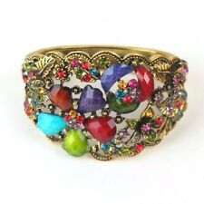 """Rhinestones Silver or Gold Plated Floral Bracelet Women Fashion Jewelry 2.5"""" New"""