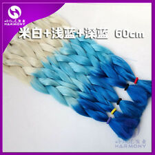 Blonde Blue Ombre Kanekalon Jumbo Braiding Synthetic Hair Extension Twist Braids