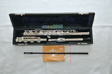 17 Hole Open Hole French Push Button Silver Plated Flute C Tone + E