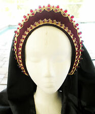 Burgund Velvet Tudor Renaissance French Hood Headpiece Hat 4 Dress Gown Necklace