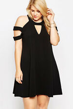 Sexy Black Cocktail Swing Mini Dress Plus Size XXL Short Sleeve Cold Shoulder 70