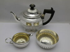 Victorian Solid Silver Bachelor's Three Piece Tea Set Service (638-9-0NV)
