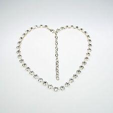 Damen Kette Collier Tennis 925 Versilbert mit Swarovski Kristallen Klar Weiß