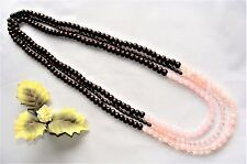 Interesting! 3 Strand Brown Wood & Pink Beads Overhead Necklace New!