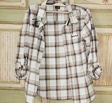 Street Style Jungen Herren Hemd Baumwolle Weiß Beige Kariert S M 44 46 158 164