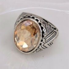 Vintage woman 316L Stainless Steel Vogue Design Mini Stone Ring New Size 8  ! #