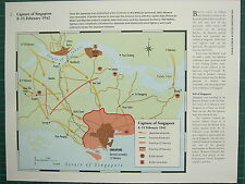 WW2 WWII MAP  CAPTURE OF SINGAPORE 8-15 FEB 1942 ADVANCES FRONT LINE NAVAL BASES