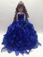 NEW Royal Blue 20 inch 15 Anos Quinceanera Ruffle Dress Porcelain Umbrella Doll