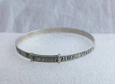 VINTAGE SOLID SILVER ADJUSTABLE BANGLE WITH ENGRAVED 'I LOVE YOU' & HEARTS