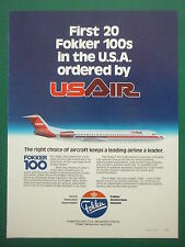 10/1985 PUB FOKKER AIRCRAFT HOLLAND FOKKER 100 USAIR AIRLINE ORIGINAL ADVERT