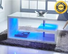 Luxury New Modern Design White High Gloss Coffee Table With Blue LED Lights