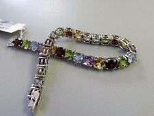 "New & Dashing !!! 7.5"" Sterling Silver Bracelet w Natural Gemstones"