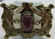 ORNATE Antique Victorian Brooch Sash Pin Amethyst Glass / Winged PHOENIX BIRD