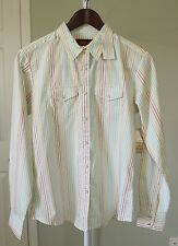 Aura Wrangler Women Button Down Country Western Striped Pastel Size Small $28.99