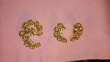 SARAH COV VINTAGE SARAH COVENTRY SET BROOCH EARRINGS RHINESTONES FAUX PEARLS