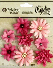 Mini Mix PINK 8 Teastained Paper Flowers 20-35mm across Darjeeling Petaloo Box