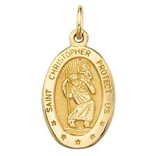 10k yellow gold oval patron st. christopher embossed pendant charm