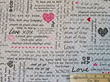 Adore Love Sayings Grey Valentine Kiss XOXO Fabric by the 1/2 Yard  #1037-90