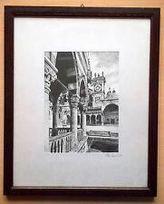 GIUSEPPE MARIO D'AMICO Serigrafia su seta da china Venezia Torre dei Mori