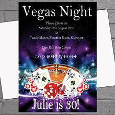 Personalised Casino Vegas Night Themed Birthday Party Invitations x12 +env H0428