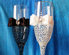 Wedding champagne glasses, Personalized glasses, Bride and Groom, Bridal shower