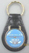 Vintage CHRYSLER 300 C HEMI Black Leather Goldtone Keyring 300C Hemi Key Fob
