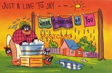 JUST A LINE TO SAY - - WE'RE THINKING OF YOU wash drying on clothes line