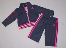 NEW~ADIDAS INFANT GIRL 2PC GRAY/PINK TRACK SUIT JACKET AND PANTS SIZE 6 MONTHS