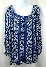 Lucky Brand Women's XL Blue Crochet Detail Contrast Peasant Top Blouse NEW NWT