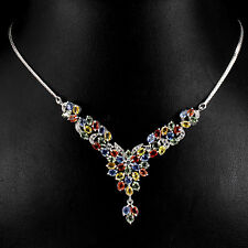 79 CTS! LUXE! NATURAL AAA MULTI-COLORED SONGEA SAPPHIRE 925 SILVER NECKLACE