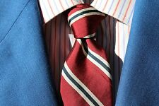 Rivetz of Boston Red, White, & Blue Striped Shantung Silk Necktie