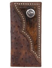3D Western Wallet Mens Leather Rodeo Ostrich Print Brown W914