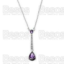 AVON drop STATUESQUE NECKLACE purple/silver PENDANT&CHAIN rhinestone GIFT BOX UK