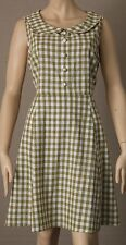 PRINCESS HIGHWAY Size 14 Checked Linen/Cotton DRESS White, Olive Green