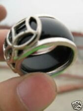 Nice Tibetan Silver Men's BLACK JADE RING