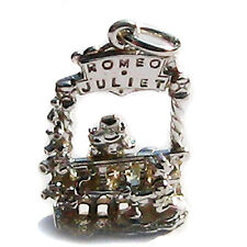 Sterling British Silver 925 Romeo & Juliet Shakespeare Play Theatre Moving Charm