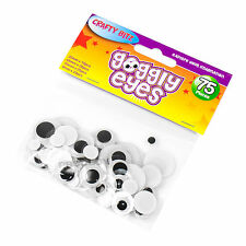 Pack of 75 Round Googly Eyes 4 Assorted Sizes Childrens Fun Adhesive Stickers