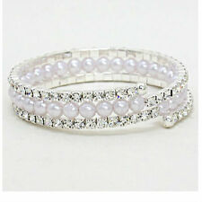 CLEAR CRYSTAL & WHITE SIMULATED PEARL BANGLE BRACELET CHIC & TRENDY ACCESSORIES