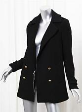 GERARD DAREL Womens Black Wool Double Breasted Straight Jacket Coat 36/4 NEW