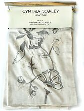 Cynthia Rowley Jacobean Embroidered Linen Cotton PAIR Window Curtain Panels 96""