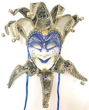 BLUE GOLD BLACK JOKER VENETIAN MASQUERADE MASK MARDI GRAS CARNIVAL PARTY C31