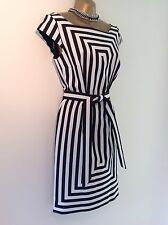 BNWT Karen Millen Black & White Stripe Belted Dress DV264 S15S
