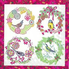 Birds and Wreaths Red Christmas paper 33cm square lunch napkins 20 in pack