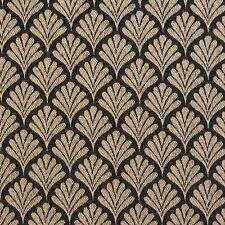 B660 Black, Small Scale Fan Woven Jacquard Upholstery Fabric By The Yard