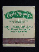 CARLOS MURPHY'S MEXICAN RESTAURANTS & PAWN SHOPS NORTH MELB 3298402 MATCHBOOK