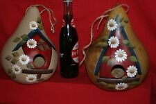 """GOURDS  BIRDHOUSE GOURDS (BORED 1-1/2"""" READY TO HANG) HAND PAINTED"""