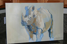 "ORIGINAL KEITH JOUBERT ""WHITE RHINOCEROS"" OIL ON CANVAS FINE ART SOUTH AFRICA"