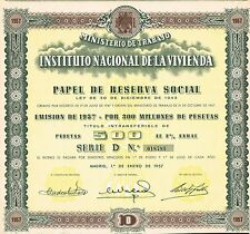 Spain Ministry Of Labor Housing 3% Bond stock certificate