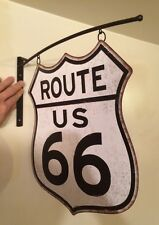 ROUTE 66 FLANGE US ROAD HIGHWAY TIN METAL BAR WALL HOME DECOR GARAGE MAN CAVE
